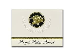 签名公告皇家棕榈学校(兰塔纳州,FL)毕业公告,总统风格,25 片帽子和证书印章的精英包装。 黑色和金色。