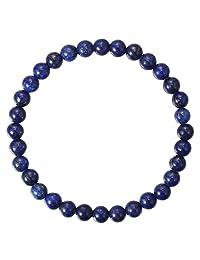 BRCbeads 宝石手镯天然宝石诞生石手工愈合力水晶珠弹性拉伸 19.05 厘米礼品盒中性款 蓝色青金石