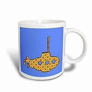RUSS billington 设计–可爱橙色潜水艇带潜望镜 ON 蓝色背景–马克杯 白色 11 oz