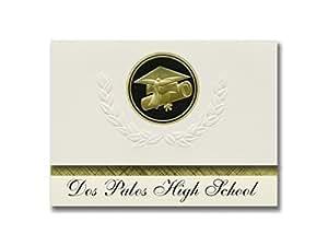 签名公告 Dos Palos 高中(Dos Palos,CA)毕业公告,总统风格,优质包装 25 个帽子及证书印章。 黑色和金色。