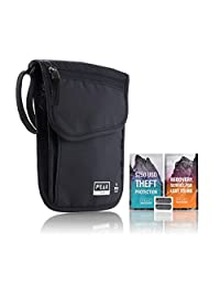 高级旅游颈钱包 W / theft insurance 和 Lost & Found 服务–RFID BLOCK 内衬半–领 STASH 袋 holds passports 卡片和文档