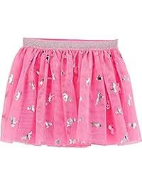 Baby B'Gosh 女孩闪亮银箔独角兽霓虹粉色薄纱蓬蓬裙带弹性银色闪光腰带 24 个月