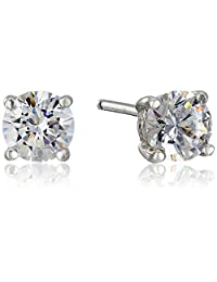 Platinum Plated Sterling Silver Stud Earrings set with Round Cut Swarovski Zirconia (1 cttw)