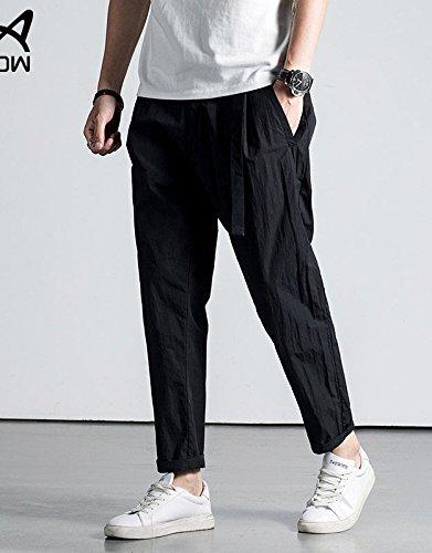 猫MiiOW夏のメンズカジュアルパンツの潮9人の日本の子供緩いストレートジーンズ9つのパンツ男の子のズボンハンサムな黒175 / L