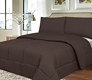 Sweet Home Collection Down Alternative Polyester Comforter Box Stitch Microfiber Bedding - Full, Brown