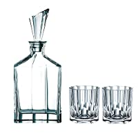 Nachtmann 90024 Aspen Decanter Set with Stopper and Whisky Tumblers, Clear