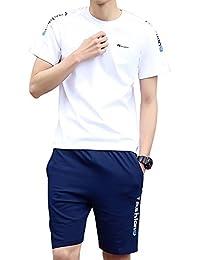 OULUNYA 欧伦亚 夏季运动短裤套装 男士短袖T恤纯棉休闲服 修身五分裤男