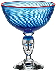 Kosta Boda 红色轮胎花纹连脚花瓶,蓝色