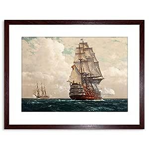Wee Blue Coo 绘画 海景船 SEA 带框艺术印刷品 F97X10957 棕色 F97X10957_BROWN