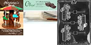 """Cybrtrayd""""Dump Truck Lolly"""" Chocolate Mold with Chocolatier's Bundle, Includes 50 Sticks, 50 Cello Bags, 25 Gold and 25 Silver Twist Ties and Chocolatier's Guide"""