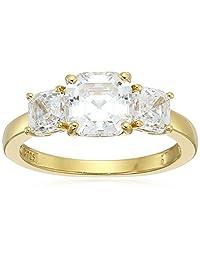 platinum-plated 标准纯银 asscsher-cut Swarovski 氧化锆三宝石周年纪念戒指 ( 3?cttw )  透明 6