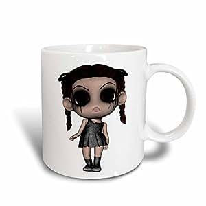 设计玫瑰金色快乐和 haunted 万圣节–万圣节惊悚 brunette 女孩玩偶–马克杯 蓝/白 11-oz Two-Tone Blue Mug