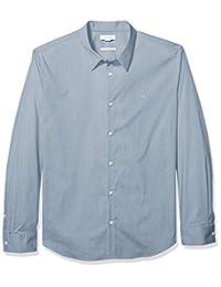 Calvin Klein 男式2口袋条纹长袖纽扣衬衫