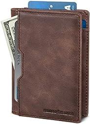 SERMAN BRANDS 男士钱包 修身男式皮革 RFID 屏蔽极简主义卡前口袋双折旅行薄