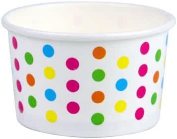 Yocup 3 盎司。 纸冰淇淋/冰雪奇缘甜点杯 Polka Dot Rainbow 3 oz.