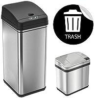 iTouchless 13 加仑自动无接触传感器厨房垃圾桶,带异味过滤器*器,铂金限量版(不锈钢组合)