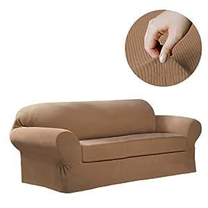 Maytex Collin Stretch 2-Piece Sofa Furniture Cover/Slipcover, Gold