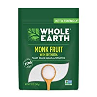 Whole Earth Monk Fruit Sweetener with Erithrytol, Plant-Based Baking Sugar Substitute, 12 Ounces