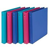 samsill 时尚颜色3戒指存储 binders , cm 圆形戒指,各种颜色(电动粉色,蕨类植物绿色,深紫色 ) ,批量 binders–6件装
