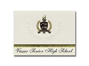 签名公告 Vassar 高中(Vassar, MI)毕业公告,总统风格,25 片精英包装,金色和黑色金属箔封条