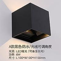 Mei Shang 简约LED壁灯户外防水方形调光创意客厅墙壁卧室酒店过道别墅走廊 A款黑色-防水-光线可调