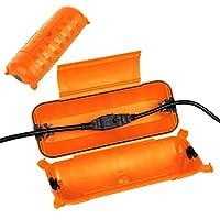 2 件装户外 IP44 防水连接盒,防风雨电气延长线盖,*密封外壳,保护节日照明装饰,电力工具,喷泉,橙色