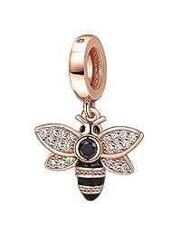 玫瑰金蜜蜂水晶魅力吊坠 纯色 925 标准纯银女王蜂吊坠