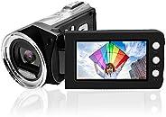 摄像机数码相机 FHD 1080p Vlogging摄像机录像机,2.7英寸270度旋转液晶摄像机,8×数码相机(不包括SD卡)