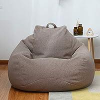 懒人沙发 单人沙发 豆袋沙发 榻榻米小沙发 卧室客厅阳台小户型椅子 特大号100cmx120cm(亚麻棕特大号)