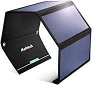 Nekteck 28W 便携式太阳能电池板充电器,防水露营装备太阳能充电器,带 2 个 USB 端口,适用于 iPhone X/8 Plus,三星 Galaxy S9/s8,iPad,平板电脑和任何 USB 设备