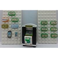Lego City 定制 ATM 机-银行钱单。 信用卡. 智能手机