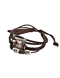 Brown Leather Rope Multi-Strand Bracelet, Adjustable, Unisex & Casual, with Metal Alloy Beads, By Regetta Jewelry