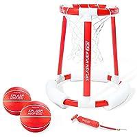 GoSports Splash Hoop 360 & Splash Pass 浮动泳池游戏 | 篮球和足球可供选择 | 套装包括篮球、球和泵