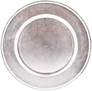 Koyal Charger Plates, Silver, Set of 24