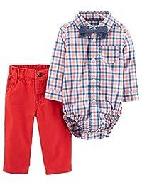 Carter's 男宝宝珊瑚色格子法兰绒纽扣衬衫蝴蝶结和牛仔裤套装 粉色/蓝色 3 Months