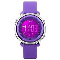 my-watch 女孩数码手表运动防水儿童户外秒表 LED 系列深层净白腕表