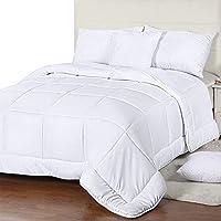 Utopia 床上用品四季被子 - 250 GSM 毛绒超细纤维填充物 - 绗缝羽绒被芯带角标签,盒边缝棉被 白色 两个 UB1149
