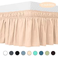 Guken 包裹式床裙弹性柔软床褶皱易穿易脱抗皱防褪色纯色酒店品质面料 38.10 厘米下垂长度 Peachpuff 全部 GKGYCQ0004P0F