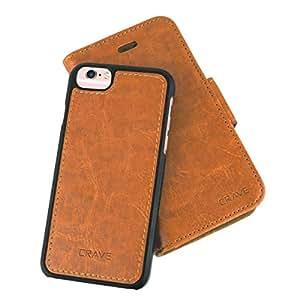 iPhone 皮革钱包手机壳,Crave Vegan Apple iPhone 皮革保护可拆卸手机壳CRVVLGi6102 Brown 6/6s