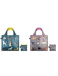 Loqi 2 件套可重复使用环保购物/杂货袋 ~ 狗狗的巫师和猫的猫猫咪设计。 小巧,可折叠成拉链袋,可承受 44 磅的重量。 钥匙和手机内袋