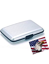 iLett。 铝制钱包,小号,银色,阻力,卡保护,RFID 块,卡片夹,6 个口袋。 超薄便携,适合旅行