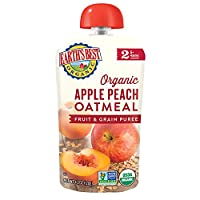 earth's best organic stage 2, apple, peach & oatmeal, 4.2 ounce pouch (12个包装) by earth's best