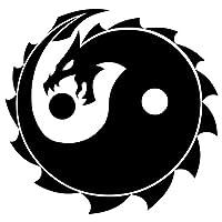 CCI 龙阴阳和平贴花乙烯基贴纸|汽车卡车货车墙壁笔记本电脑|黑色 | 5.5 x 5.5 英寸|CCI1731