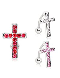 316L Surgical Steel Top Down Cross Navel Ring (Sold Individually) Red