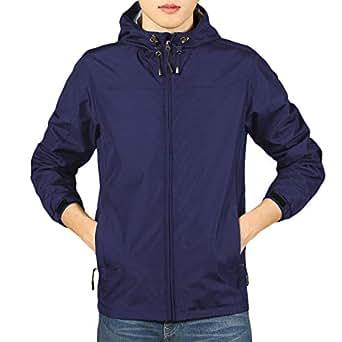 Spmor 女士防水轻质夹克防雨外套防风皮连帽夹克 海蓝色 Large