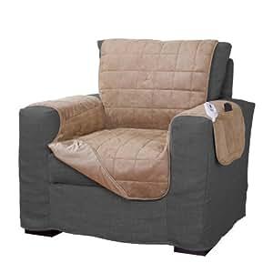 Serta Microsuede Diamond Quilted Electric Warming Furniture, Camel 褐色