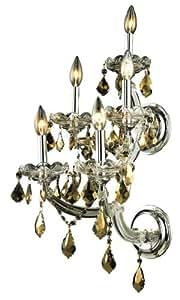 Elegant Lighting Maria Theresa 25 英寸高5 灯吊灯 Chrome Finish With Golden Teak (Smoky) 12-Inch x 25-Inch 2800W5C-GT/RC