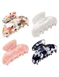女式女孩抓发夹,Funtopia 4 件装,2.6 英寸乌龟发夹,亚克力发夹,赛璐珞豹纹印花发夹,适用于细发(中号,多色)