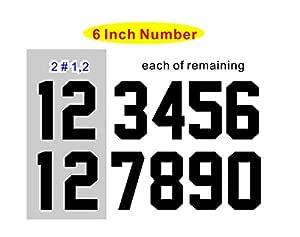 数字套件 (0-9),15.24 厘米高,运动 T 恤足球棒球,熨烫,热转印,转印,队服,T 恤(A 款) Black(0-9) A6-BK-KIT_a