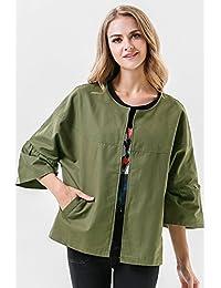 CAVOS 2018春季女装新款欧美时尚百搭纯色蝙蝠袖圆领宽松一粒扣开衫外套JR7033